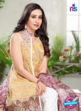 NS10460 Yellow, Brown and White Cotton Satin Party Wear Pakistani Suit Online