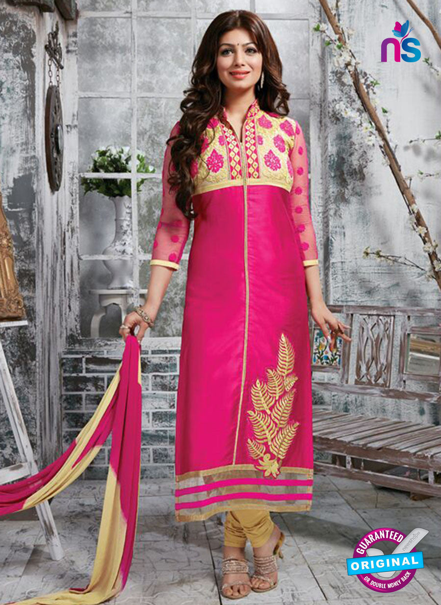 NS10272 Magent and Beige Ocassion Wear Pure Cotton Satin Straight Suit