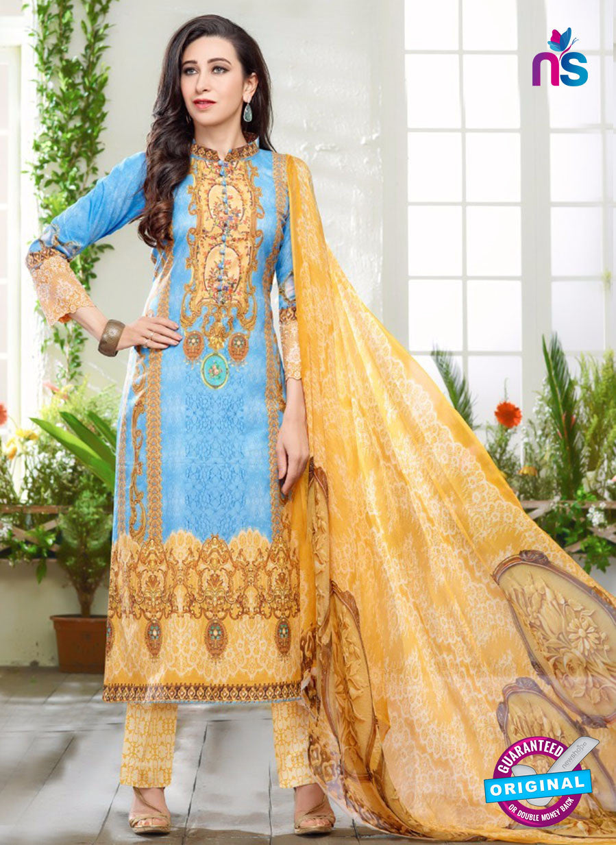 NS10461 Blue and Yellow Cotton Satin Party Wear Pakistani Suit