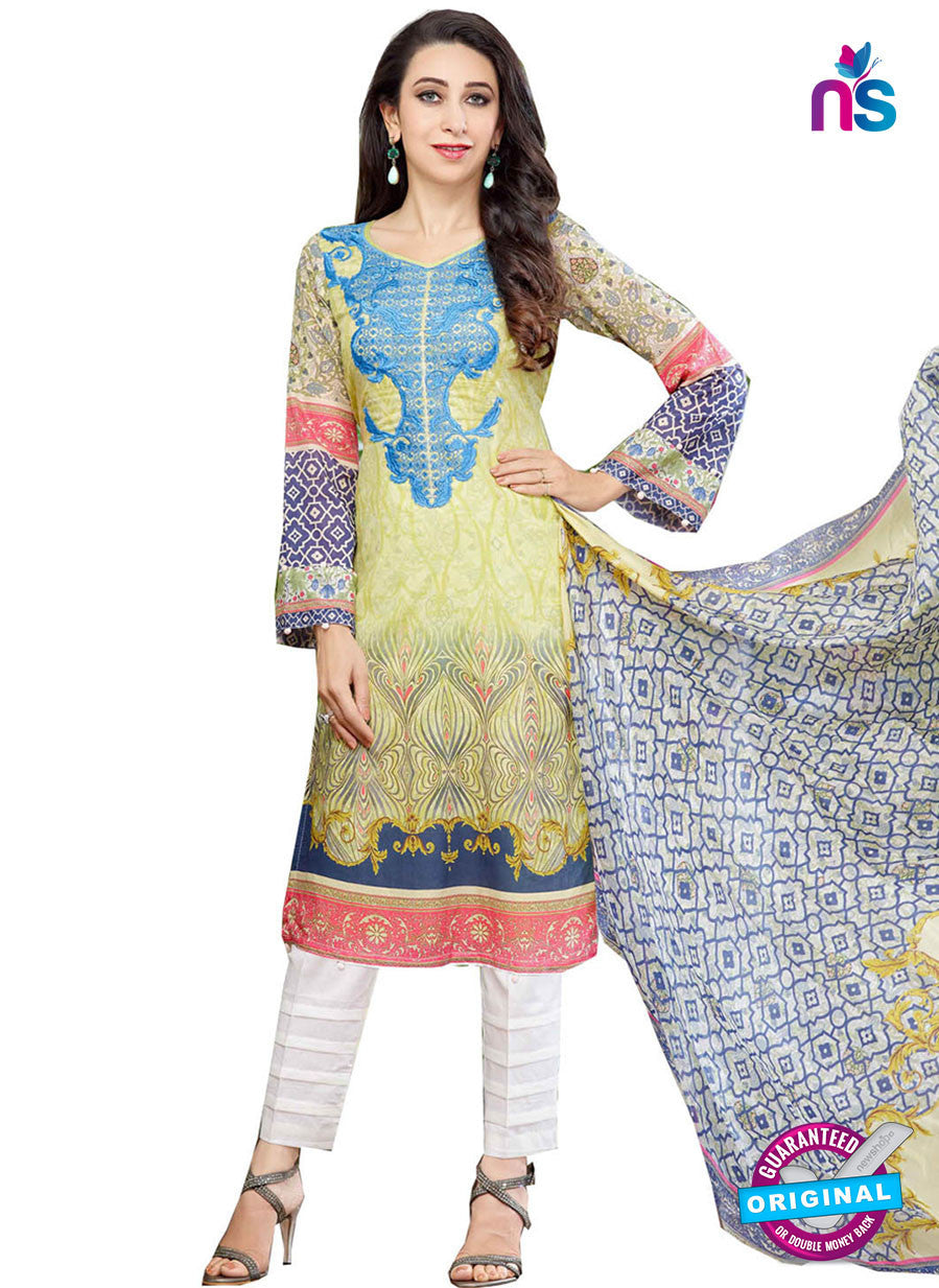 NS10463 White and Multicolor Cotton Satin Party Wear Pakistani Suit