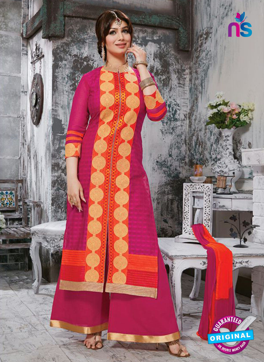 NS10266 Orange and Magenta Ocassion Wear Pure Cotton Satin Straight Suit