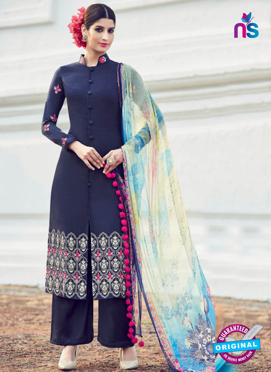 AZ 1019 Blue Cotton Satin Formal Designer Suit