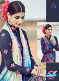 AZ 1019 Blue Cotton Satin Formal Designer Suit - Salwar Suits - NEW SHOP
