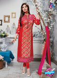 NS10267 Red and Pink Ocassion Wear Pure Cotton Satin Straight Suit