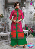 NS10268 Magenta and Green Ocassion Wear Pure Cotton Satin Straight Suit