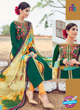 AZ 1021 Green and Orange Cotton Satin Formal Designer Suit - Salwar Suits - NEW SHOP