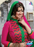 NS10268 Magenta and Green Ocassion Wear Pure Cotton Satin Straight Suit Online