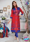 NS10269 Red and Blue Ocassion Wear Pure Cotton Satin Straight Suit