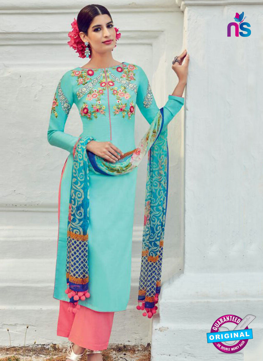 AZ 1023 Sea Green and Peach Cotton Satin Formal Designer Suit