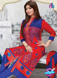 NS10269 Red and Blue Occasion Wear Pure Cotton Satin Straight Suit Online