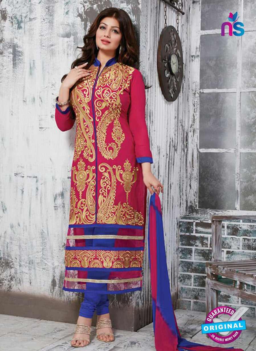 NS10270 Pink and Blue Ocassion Wear Pure Cotton Satin Straight Suit