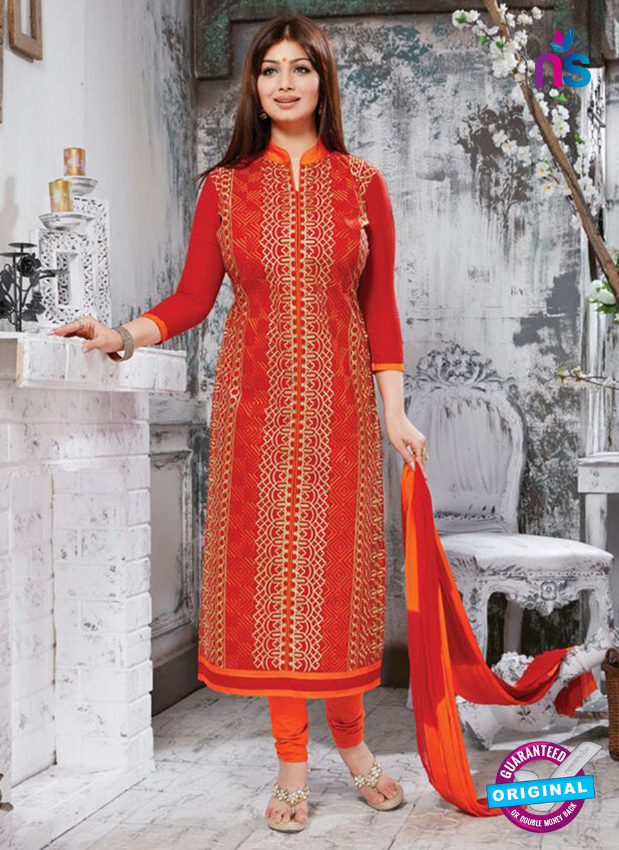 NS10271 Red and Orange Ocassion Wear Pure Cotton Satin Straight Suit