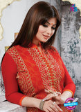 NS10271 Red and Orange Ocassion Wear Pure Cotton Satin Straight Suit Online