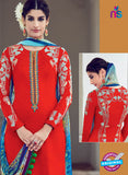 AZ 1027 Red Cotton Satin Formal Designer Suit - Salwar Suits - NEW SHOP