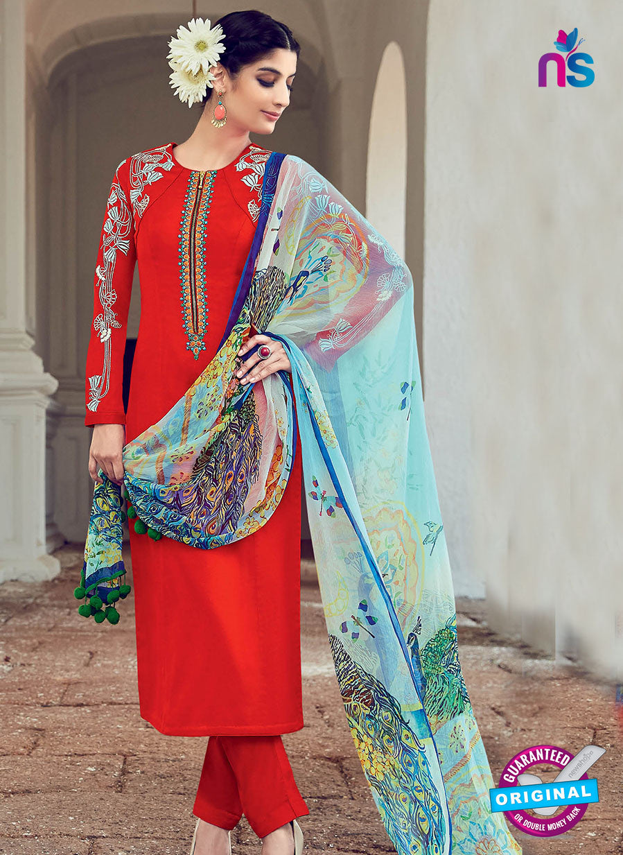 AZ 1027 Red Cotton Satin Formal Designer Suit