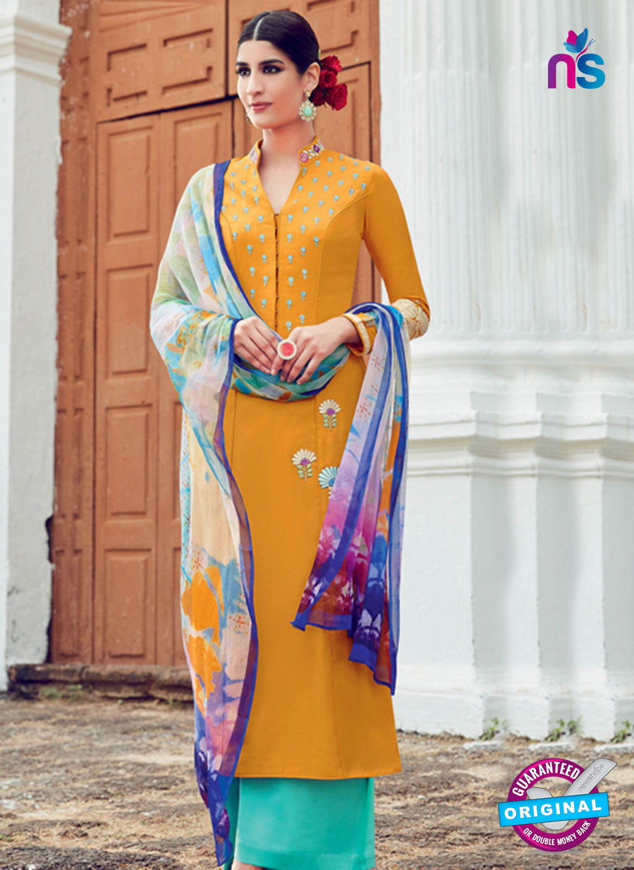 AZ 1028 Orange and Sea Green Cotton Satin Formal Designer Suit
