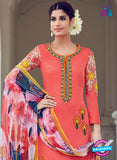 AZ 1030 Peach Cotton Satin Formal Designer Suit - Salwar Suits - NEW SHOP