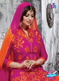 NS10274 Magenta and Orange Ocassion Wear Pure Cotton Satin Straight Suit
