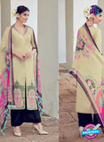 AZ 1031 Beige and Black Cotton Satin Formal Designer Suit