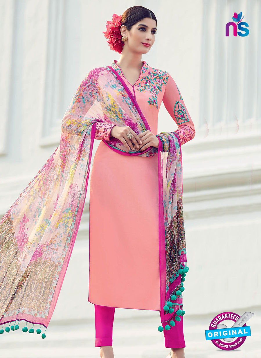 AZ 1032 Peach and Pink Cotton Satin Formal Designer Suit