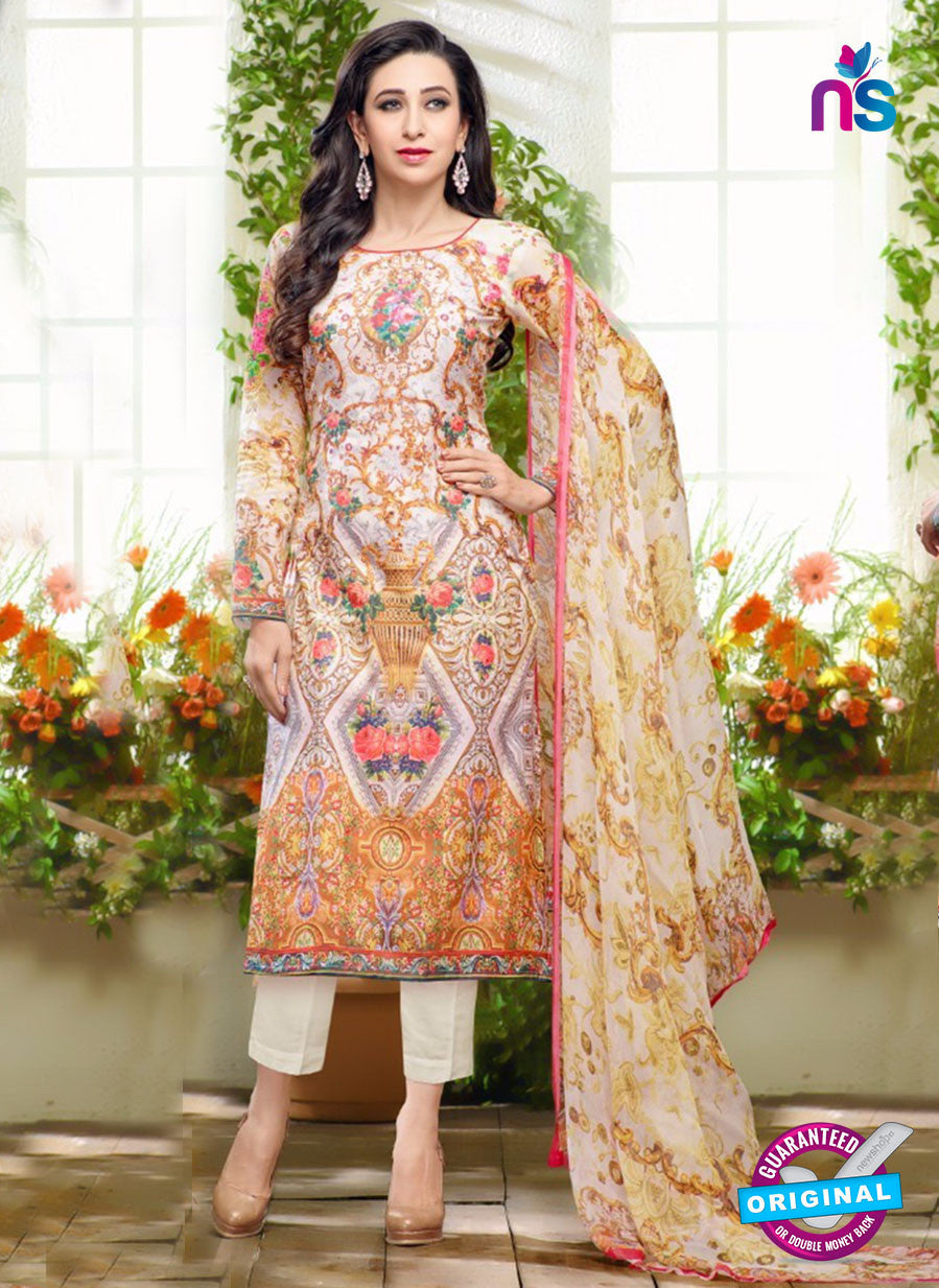 NS10462 Multicolor and White Cotton Satin Party Wear Pakistani Suit