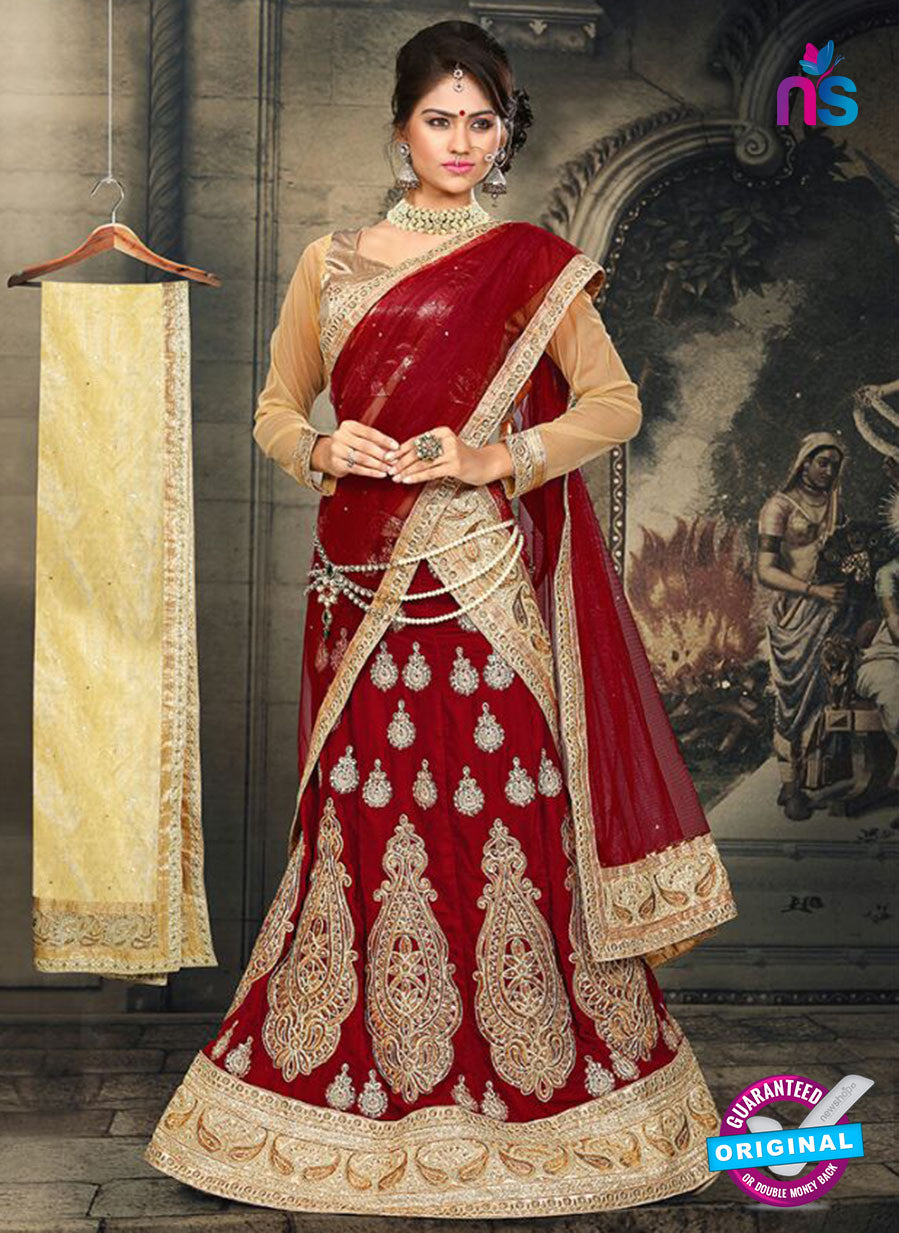 AZ 2374 Beige and Maroon Embroidered Velvet Lehenga Choli