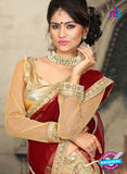 AZ 2374 Beige and Maroon Embroidered Velvet Lehenga Choli - Lehengas - NEW SHOP