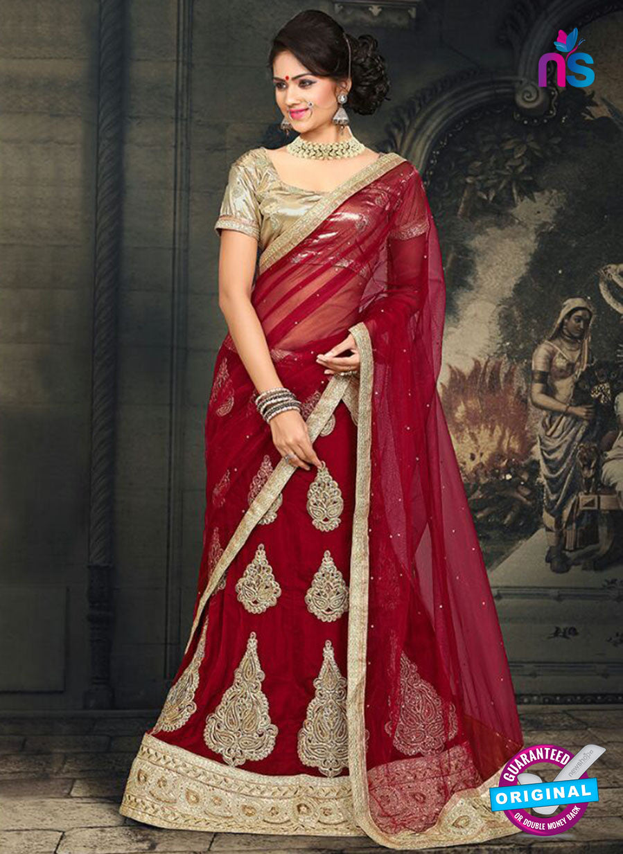 AZ 2375 Beige and Maroon Embroidered Velvet Lehenga Choli