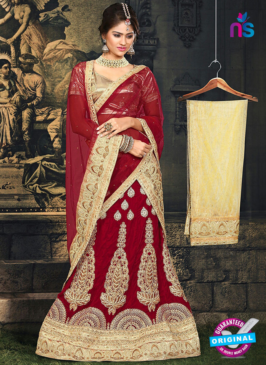 AZ 2376 Beige and Maroon Embroidered Velvet Lehenga Choli