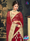 AZ 2376 Beige and Maroon Embroidered Velvet Lehenga Choli - Lehengas - NEW SHOP