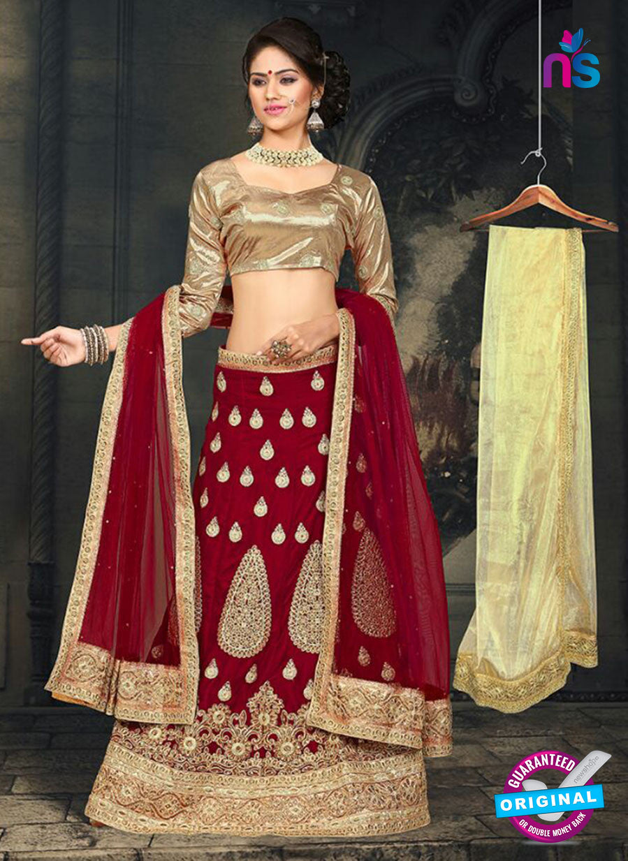 AZ 2377 Beige and Maroon Embroidered Velvet Lehenga Choli