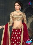 AZ 2377 Beige and Maroon Embroidered Velvet Lehenga Choli - Lehengas - NEW SHOP