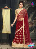 AZ 2378 Beige and Maroon Embroidered Velvet Lehenga Choli