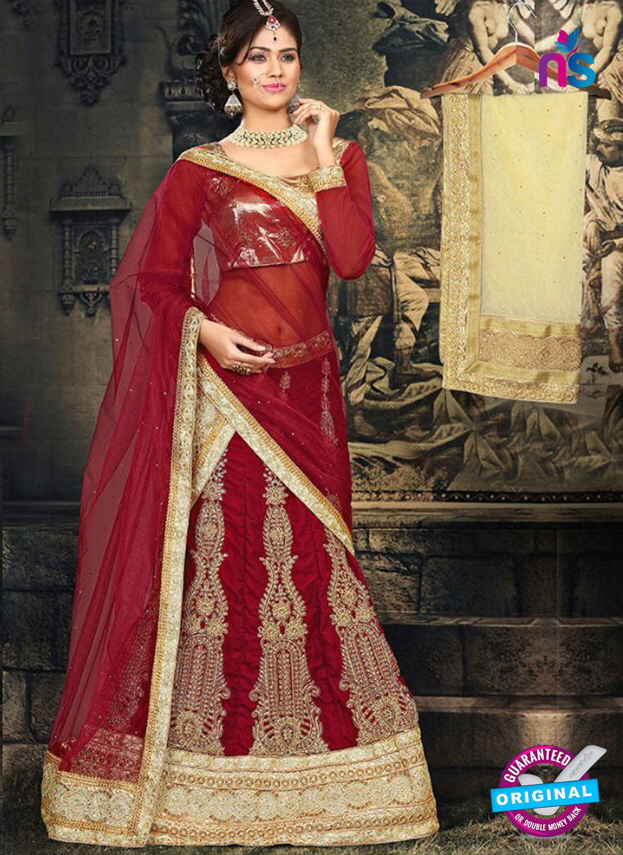 AZ 2379 Beige and Maroon Embroidered Velvet Lehenga Choli