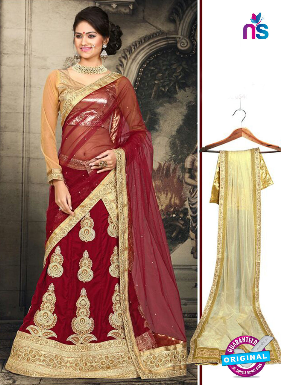 AZ 2380 Beige and Maroon Embroidered Velvet Lehenga Choli