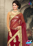 AZ 2380 Beige and Maroon Embroidered Velvet Lehenga Choli - Lehengas - NEW SHOP