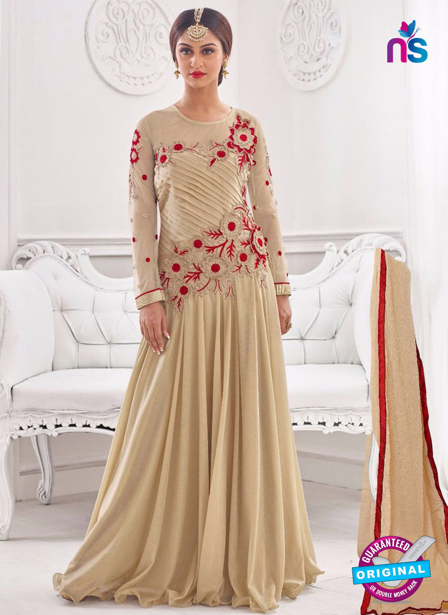 NS10279 Beige Wedding Wear Korean Ly Kraw Designer Gawn