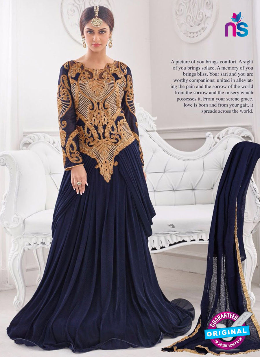 NS10280 Blue Wedding Wear Korean Ly Kraw Designer Gawn