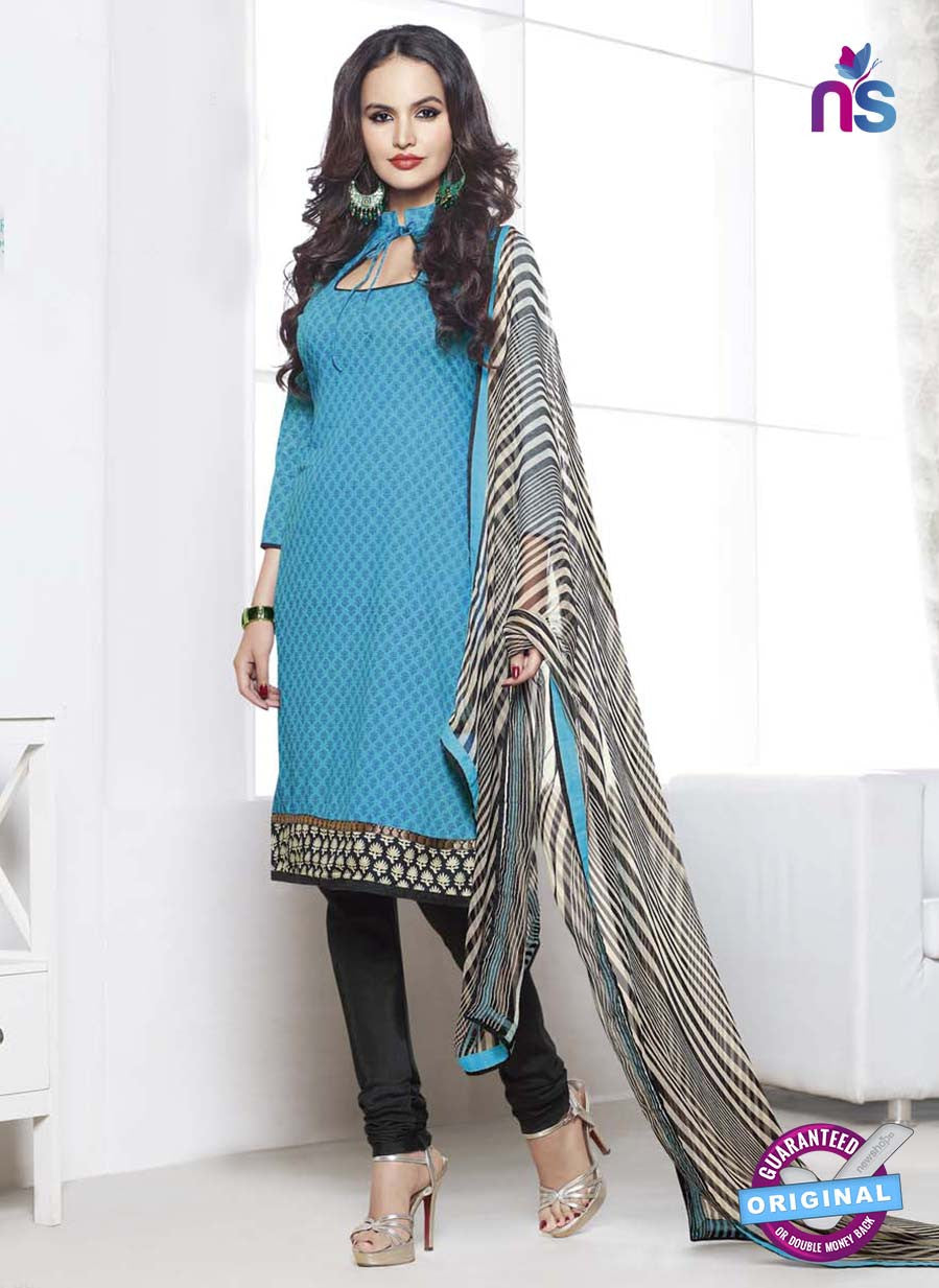 NS 12000 Sky Blue and Black Designer Pajami Suit