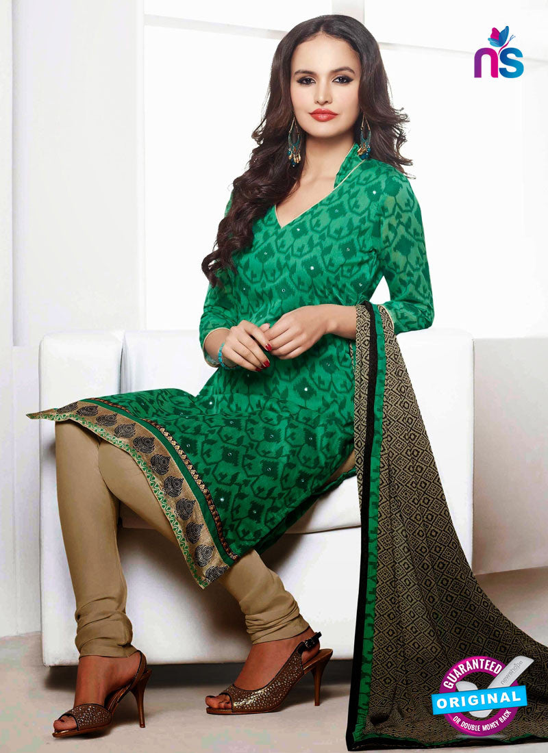 NS 12001 Green and Beige Designer Pajami Suit