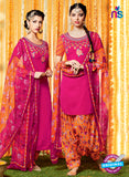 Heer 6601 Pink and Orange Cotton Satin Patiala Suit