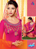 Heer 6601 Pink and Orange Cotton Satin Patiala Suit Online