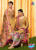 Heer 6602 Beige and Multicolor Cotton Satin Patiala Suit