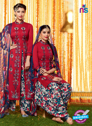 Heer 6603 Maroon and Orange Cotton Satin Patiala Suit
