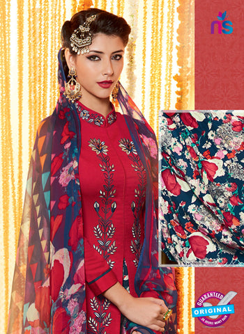 Heer 6603 Maroon and Orange Cotton Satin Patiala Suit Online