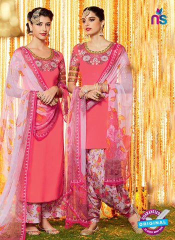 Heer 6604 Peach Cotton Satin Patiala Suit