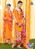 Heer 6605 Orange and Multicolor Cotton Satin Patiala Suit