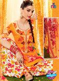 Heer 6605 Orange and Multicolor Cotton Satin Patiala Suit Online