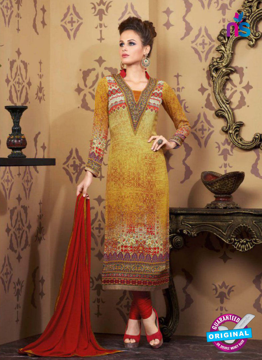 AZ 2339 Yellow and Maroon Crepe Pakistani Suit