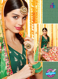 Heer 6606 Green and Multicolor Cotton Satin Patiala Suit